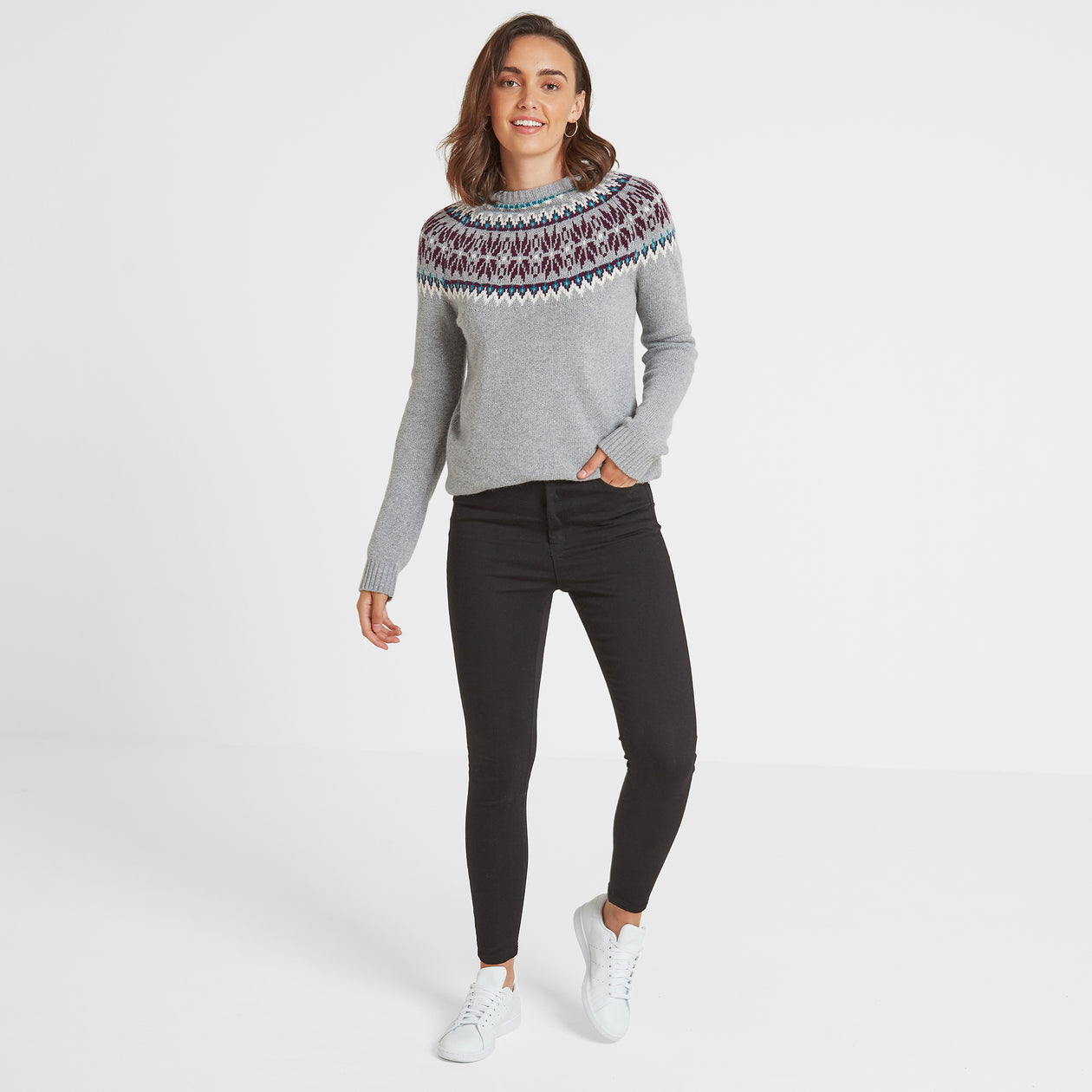 Laurie Womens Fairisle/Pattern Jumper - Light Grey Marl image 4