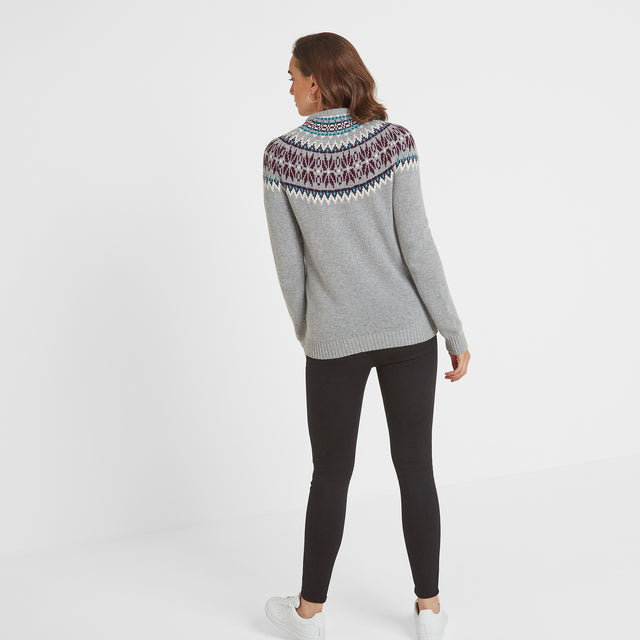 Laurie Womens Fairisle/Pattern Jumper - Light Grey Marl image 2