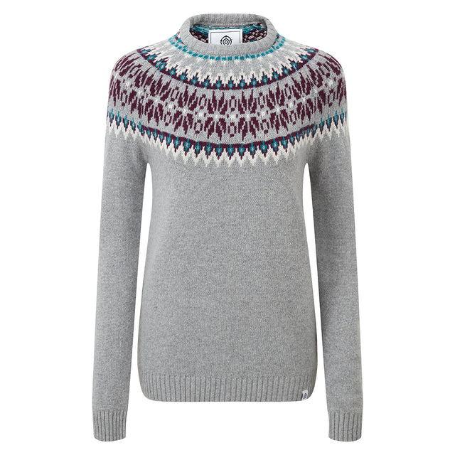 Laurie Womens Fairisle/Pattern Jumper - Light Grey Marl image 3