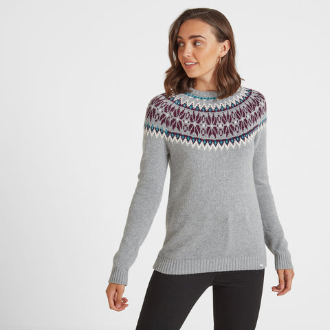 Laurie Womens Fairisle/Pattern Jumper - Light Grey Marl