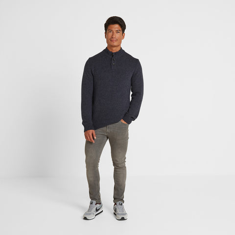 Lawrence Mens Knitted Jumper - Navy Marl