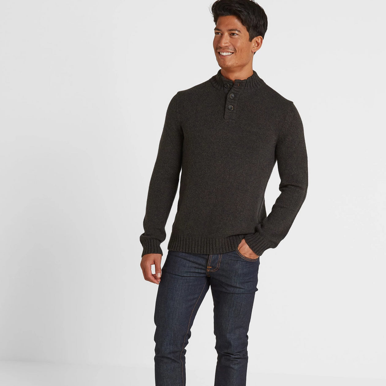 Lawrence Mens Knitted Jumper - Dark Khaki Marl image 4