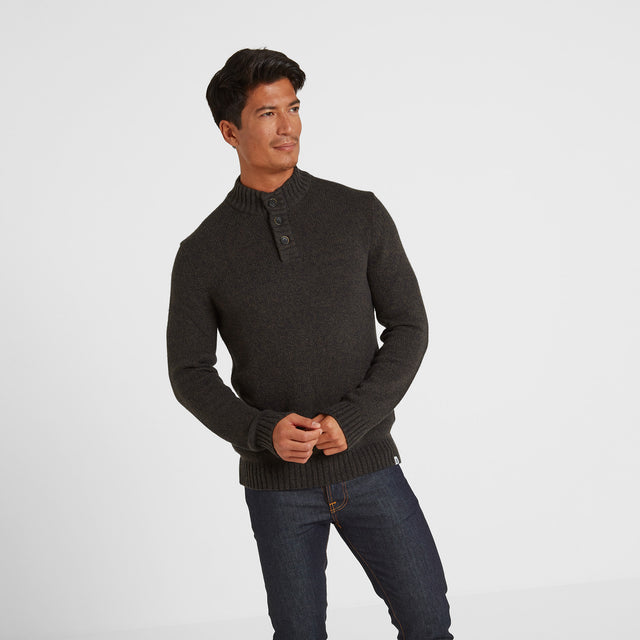 Lawrence Mens Knitted Jumper - Dark Khaki Marl image 1