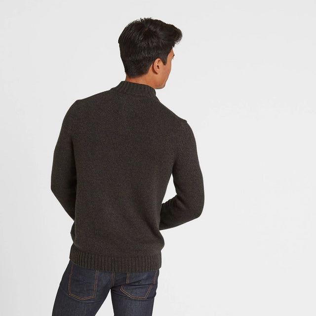 Lawrence Mens Knitted Jumper - Dark Khaki Marl image 2