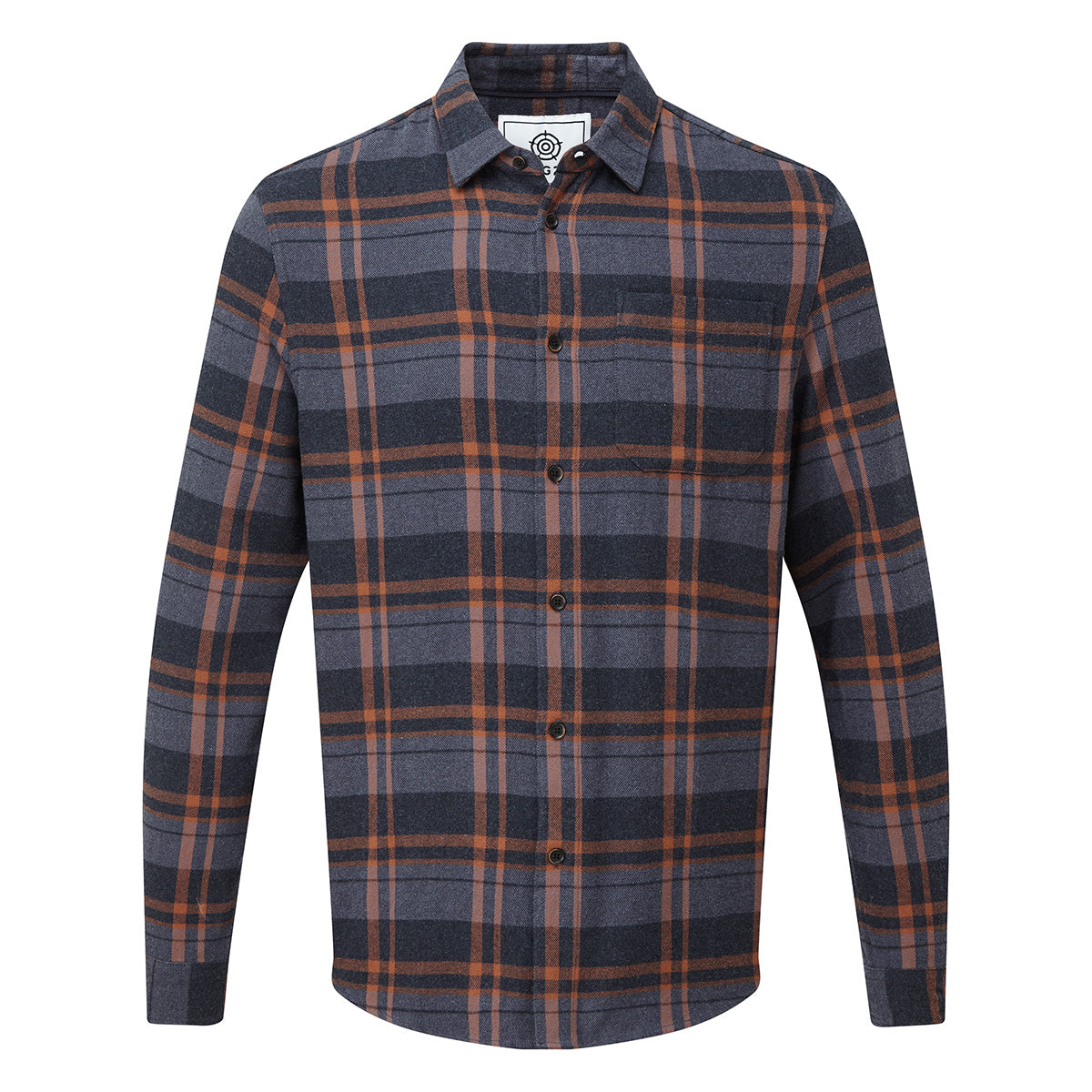 Louis Mens Long Sleeve Flannel Check Shirt - Amber Check image 4