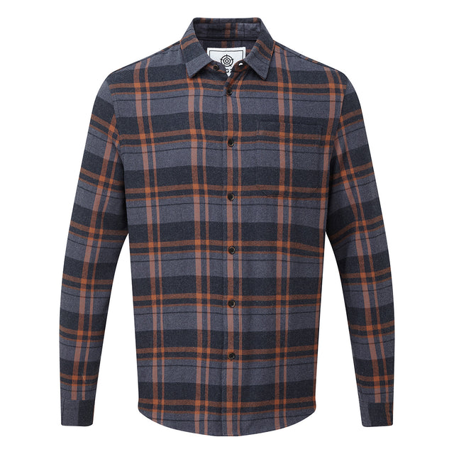 Louis Mens Long Sleeve Flannel Check Shirt - Amber Check image 3