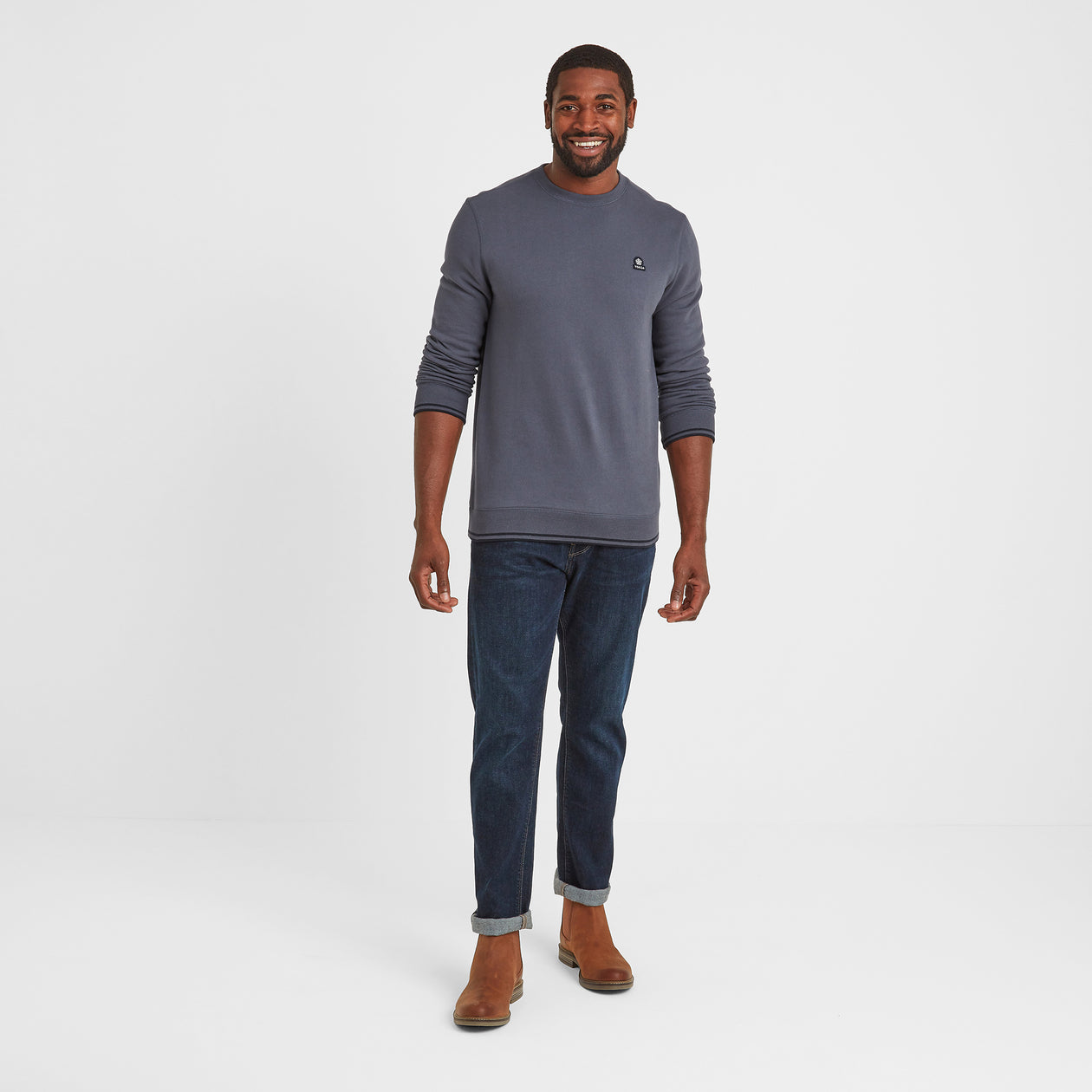 Lowe Mens Crew Neck Jumper - Washed Blue image 4