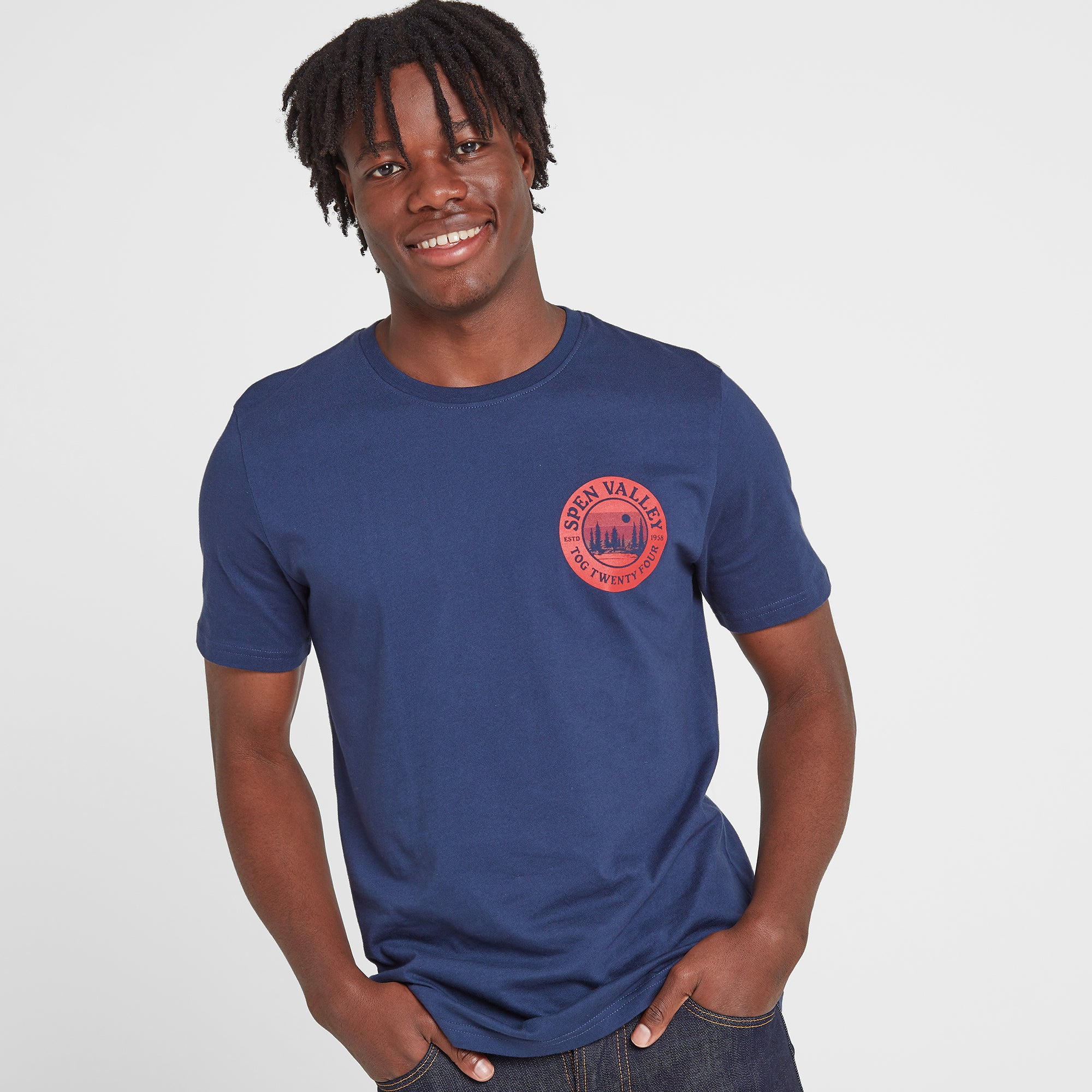 Malton Mens Graphic T-Shirt Spen - Naval Blue