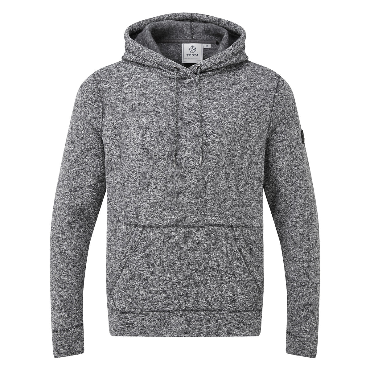 Marsden Mens Knitlook Fleece Hoody - Dark Grey Marl image 4