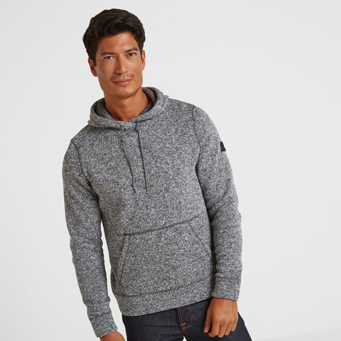 Marsden Mens Knitlook Fleece Hoody - Dark Grey Marl