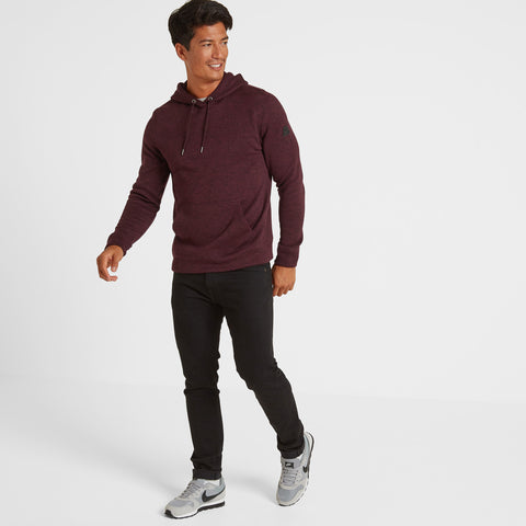 Marsden Mens Knitlook Fleece Hoody - Deep Port Marl
