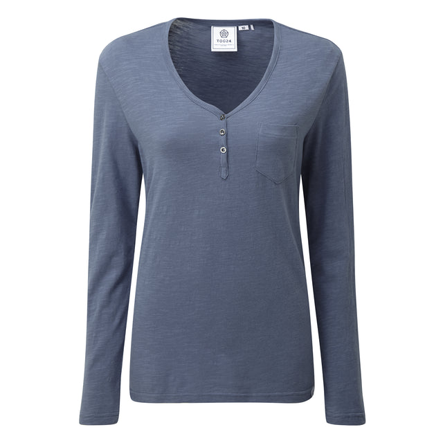 Melton Womens Long Sleeve Y-Neck T-Shirt - China Blue image 3