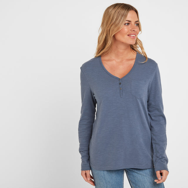 Melton Womens Long Sleeve Y-Neck T-Shirt - China Blue image 1