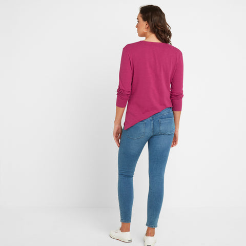 Melton Womens Long Sleeve Y-Neck T-Shirt - Sangria