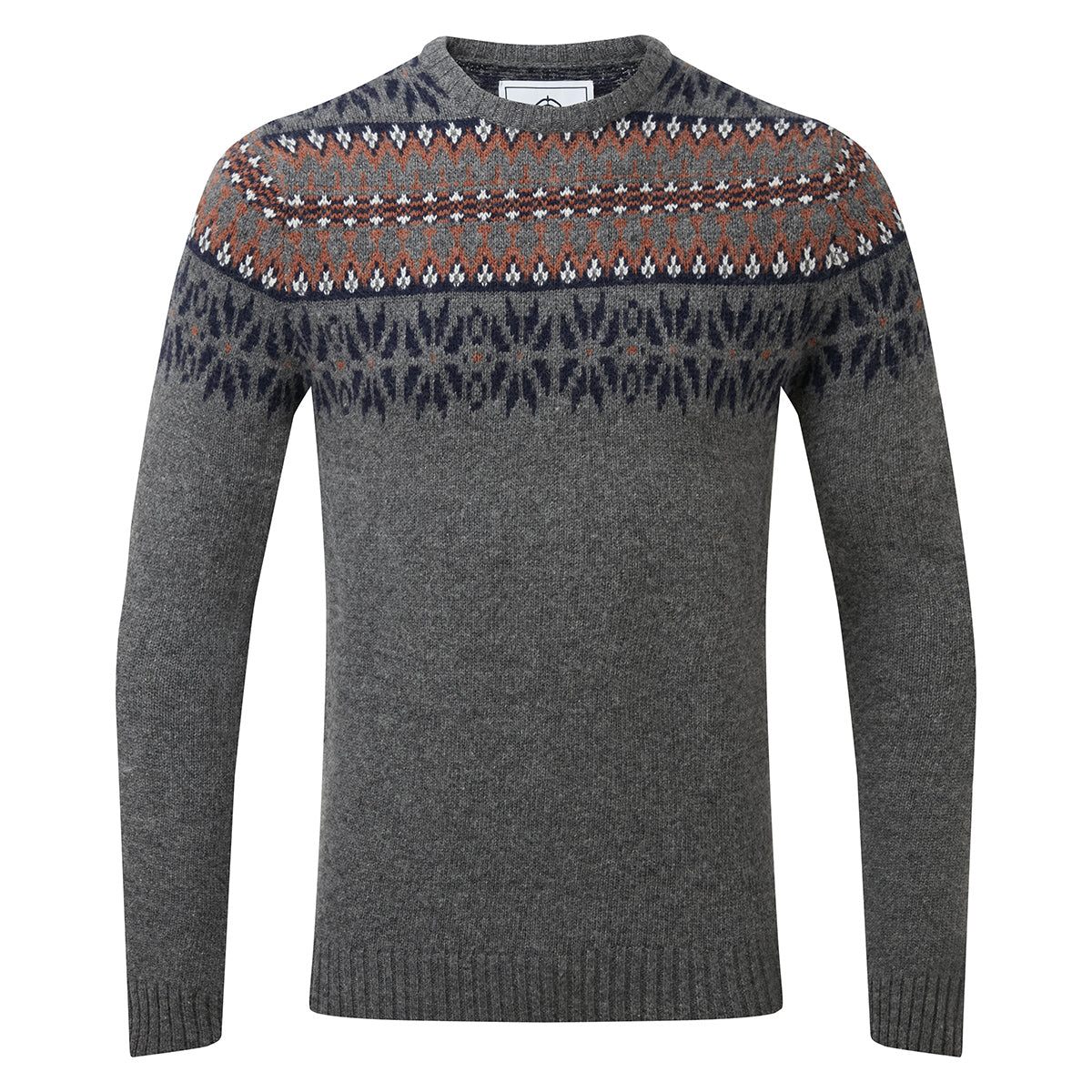 Melvin Mens Fairisle/Pattern Jumper - Light Grey Marl/Amber image 4