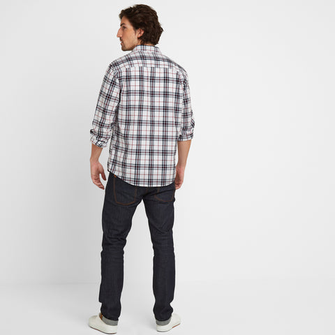 Meyer Mens Check Long Sleeve Shirt - Dark Indigo/Rio Red