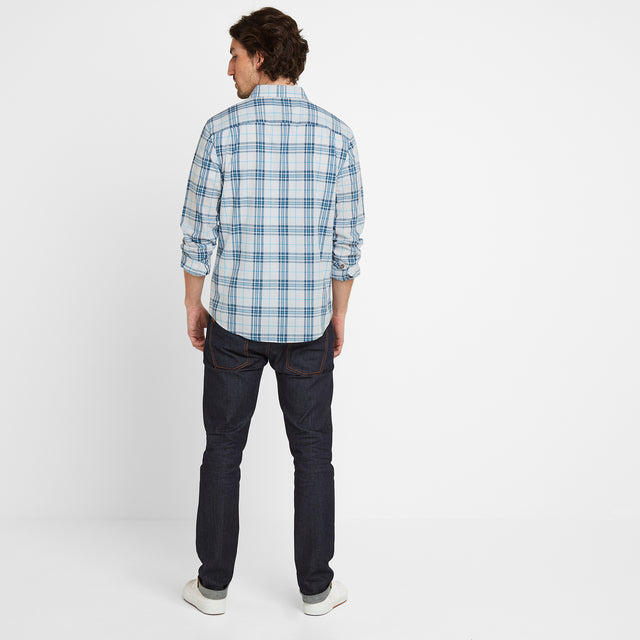 Meyer Mens Check Long Sleeve Shirt - China Blue/Optic White image 2