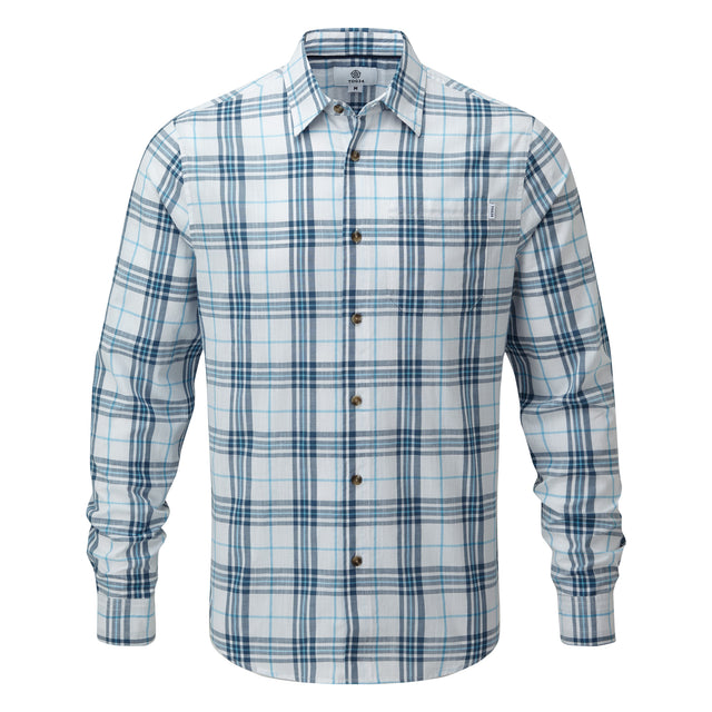Meyer Mens Check Long Sleeve Shirt - China Blue/Optic White image 3