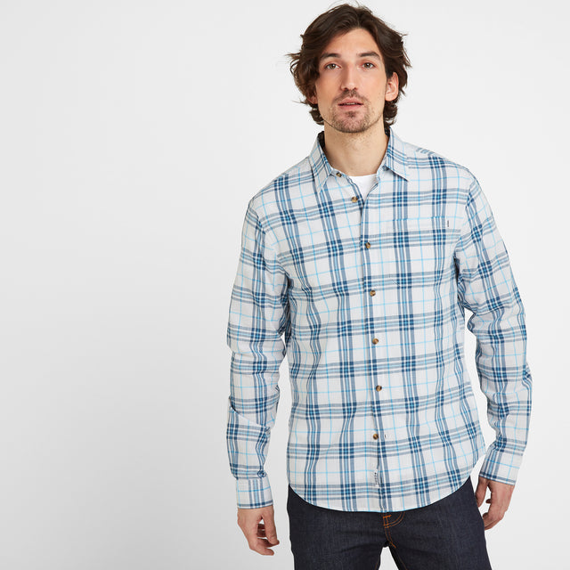 Meyer Mens Check Long Sleeve Shirt - China Blue/Optic White image 1