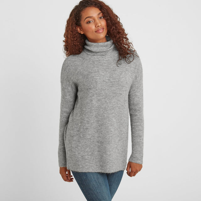 Mina Womens Chunky Rollneck Jumper - Light Grey image 1