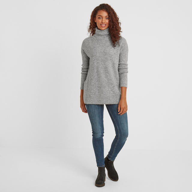 Mina Womens Chunky Rollneck Jumper - Light Grey image 2