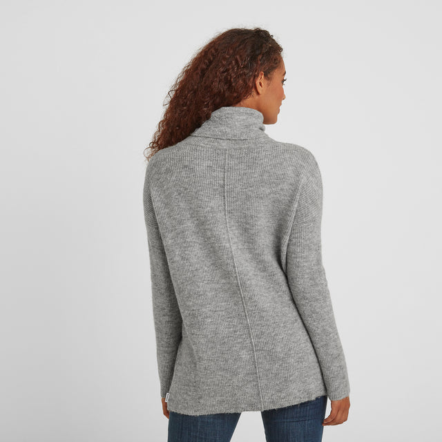 Mina Womens Chunky Rollneck Jumper - Light Grey image 3