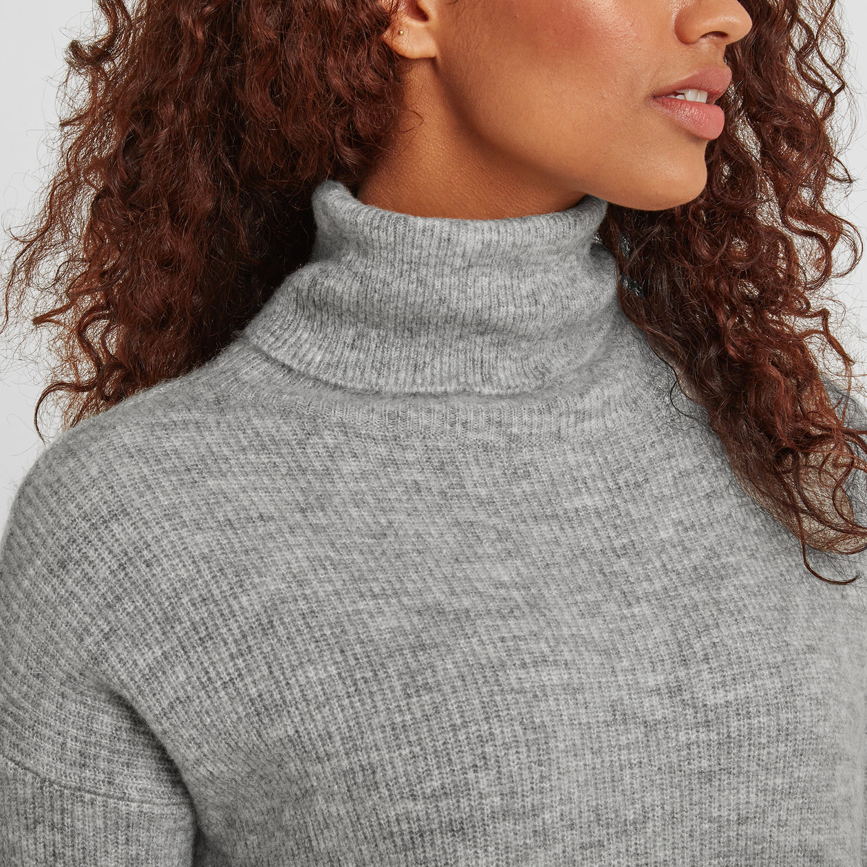 Mina Womens Chunky Rollneck Jumper - Light Grey image 4