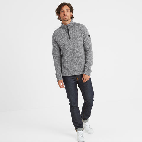 Monza Mens Knitlook Fleece Zipneck - Grey Marl