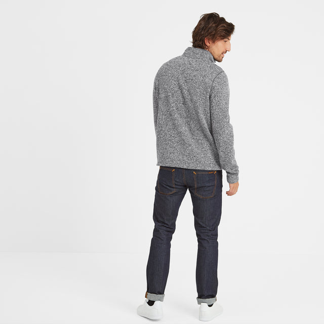 Monza Mens Knitlook Fleece Zipneck - Grey Marl image 3