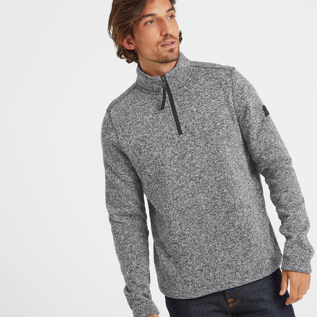 Monza Mens Knitlook Fleece Zipneck - Grey Marl image 1