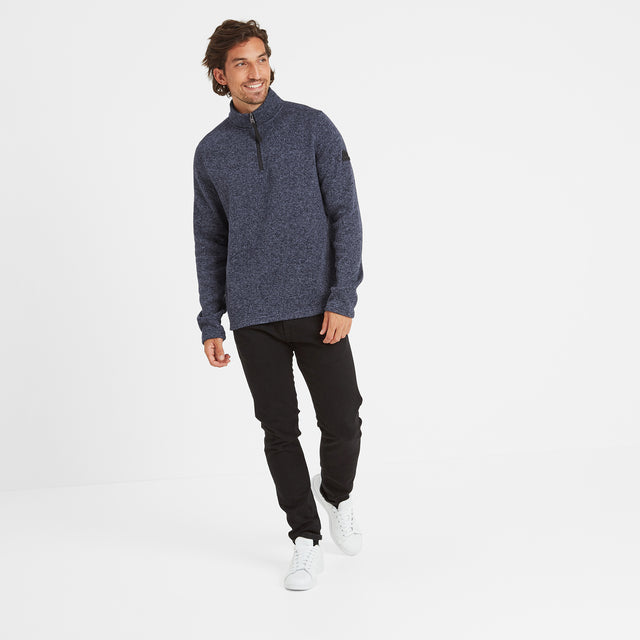 Monza Mens Knitlook Fleece Zipneck - Navy Marl image 2