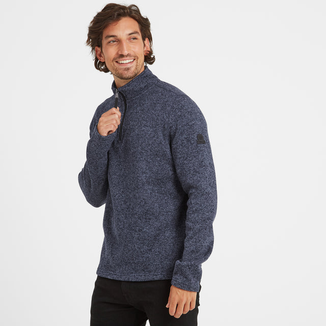 Monza Mens Knitlook Fleece Zipneck - Navy Marl image 1