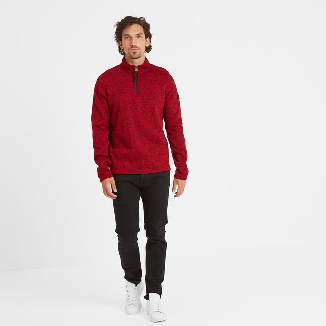 Monza Mens Knitlook Fleece Zipneck - Chilli Marl image 2