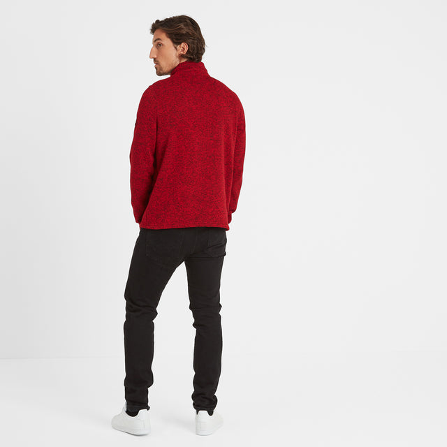 Monza Mens Knitlook Fleece Zipneck - Chilli Marl image 3