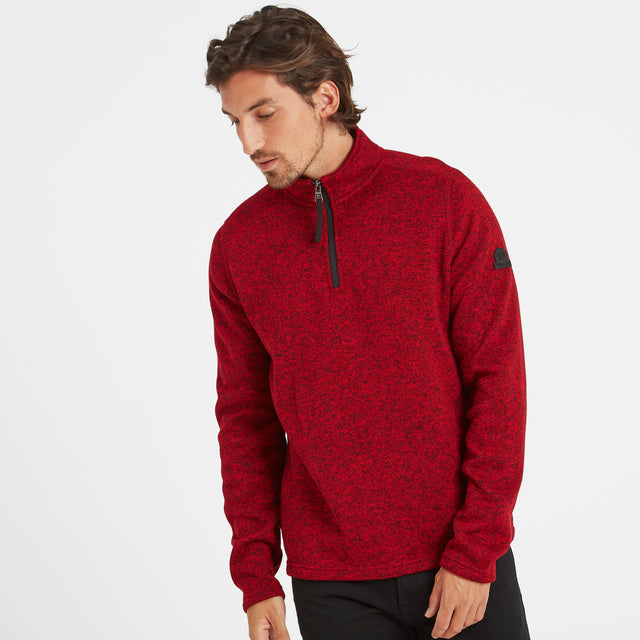 Monza Mens Knitlook Fleece Zipneck - Chilli Marl image 1