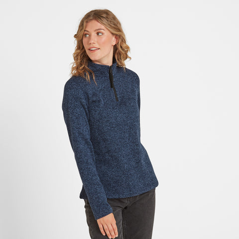 Monza Womens Knitlook Fleece Zip Neck - Navy Marl