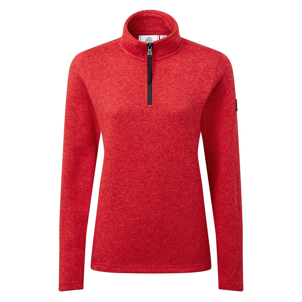 Monza Womens Knitlook Fleece Zip Neck - Rouge Red Marl image 4
