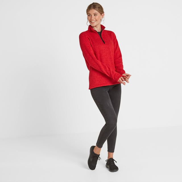Monza Womens Knitlook Fleece Zip Neck - Rouge Red Marl image 2