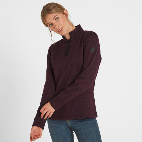 Monza Womens Knitlook Fleece Zip Neck - Aubergine Marl