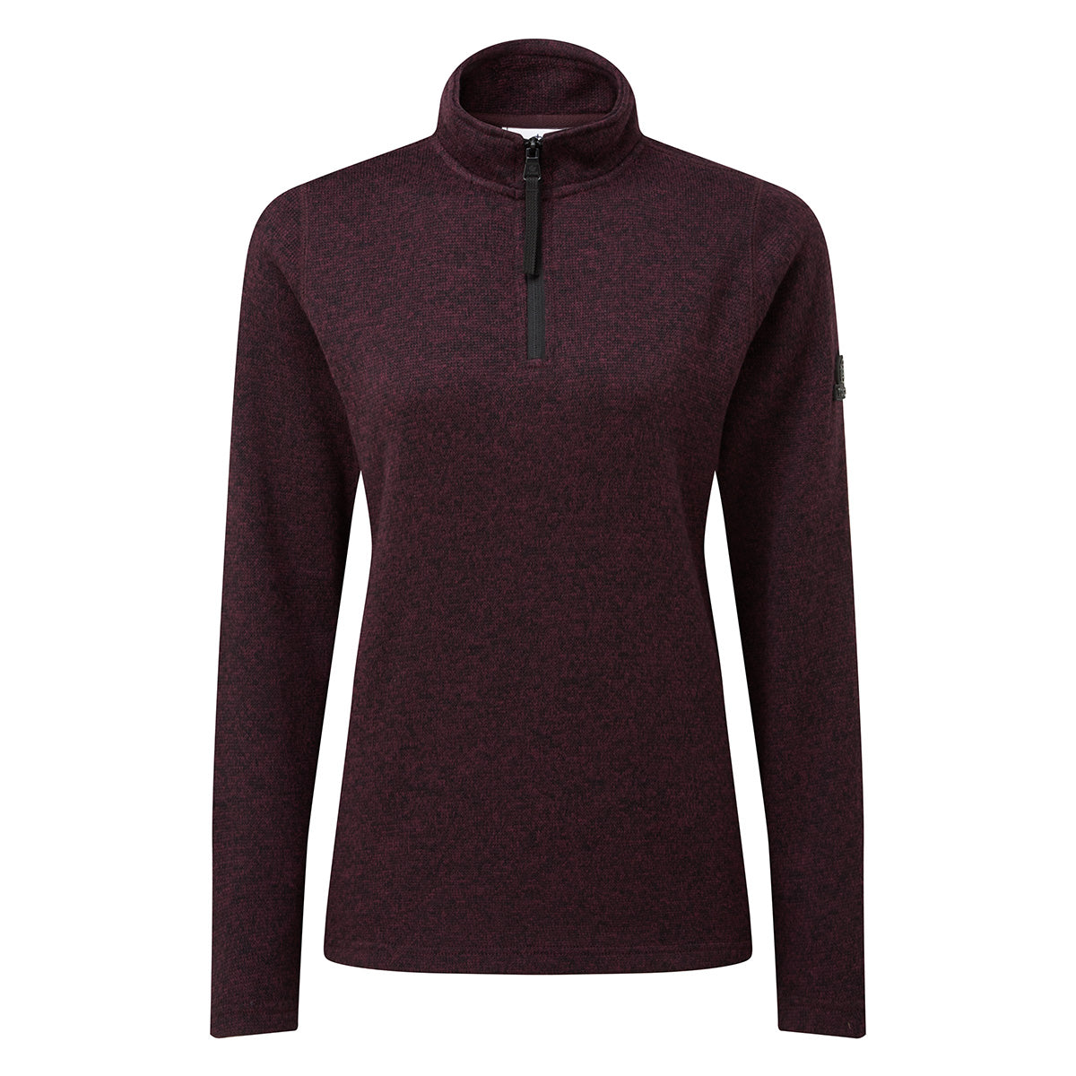 Monza Womens Knitlook Fleece Zip Neck - Aubergine Marl image 4