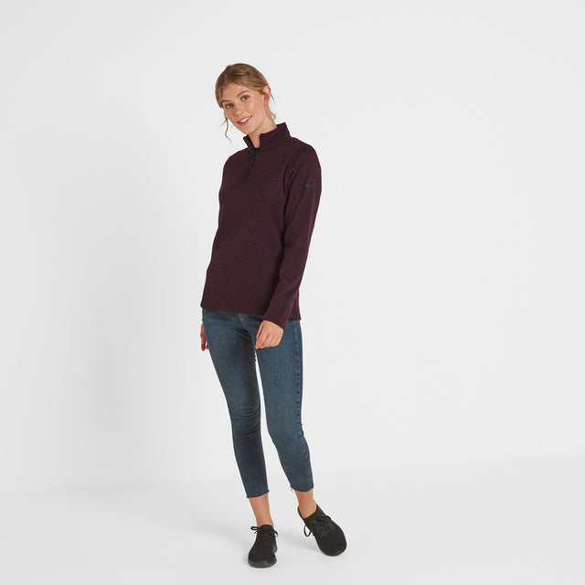 Monza Womens Knitlook Fleece Zip Neck - Aubergine Marl image 2