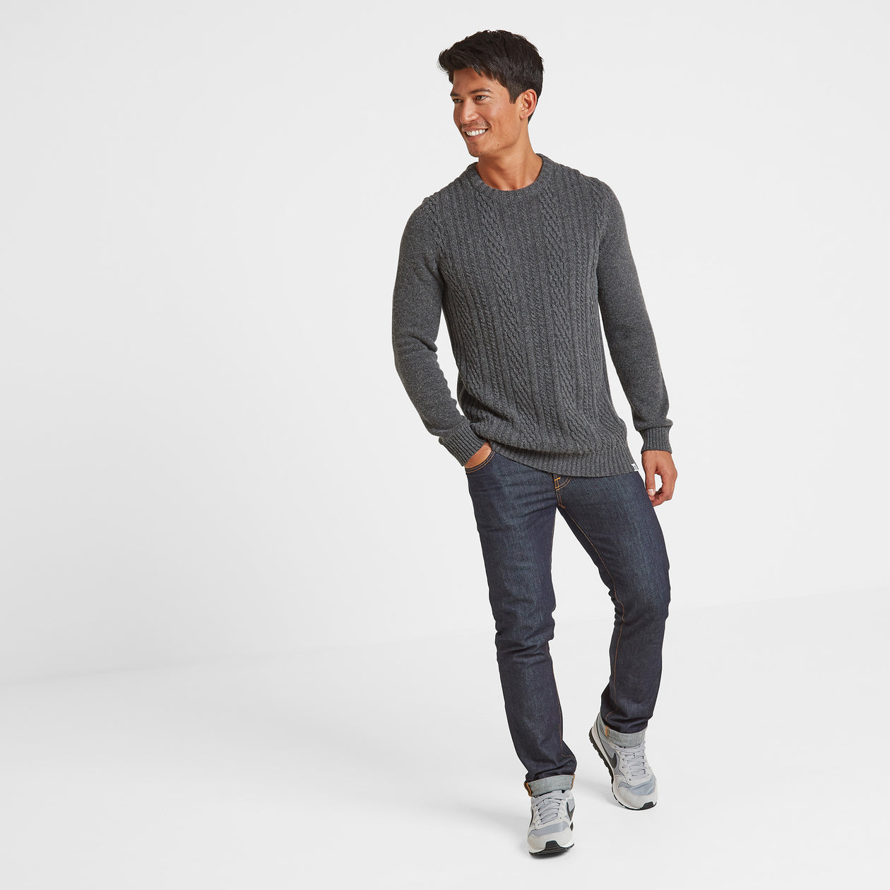 Murray Mens Cable Knit Jumper - Dark Grey Marl image 4