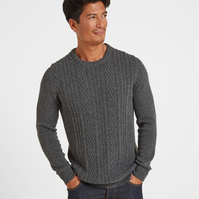 Murray Mens Cable Knit Jumper - Dark Grey Marl image 1