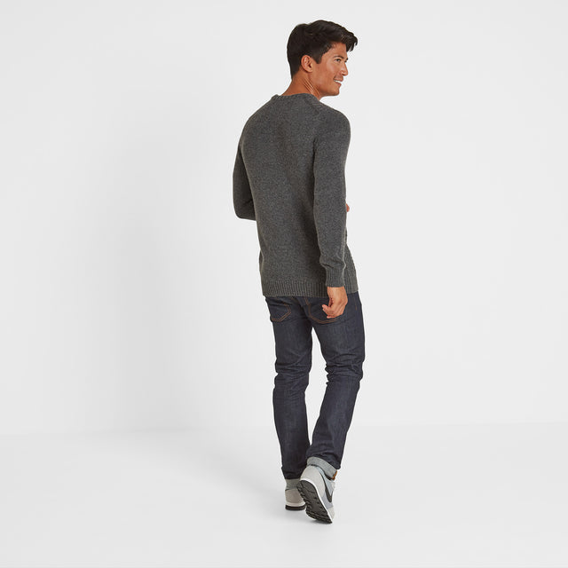 Murray Mens Cable Knit Jumper - Dark Grey Marl image 2