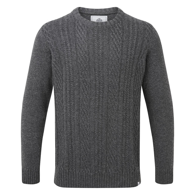 Murray Mens Cable Knit Jumper - Dark Grey Marl image 3