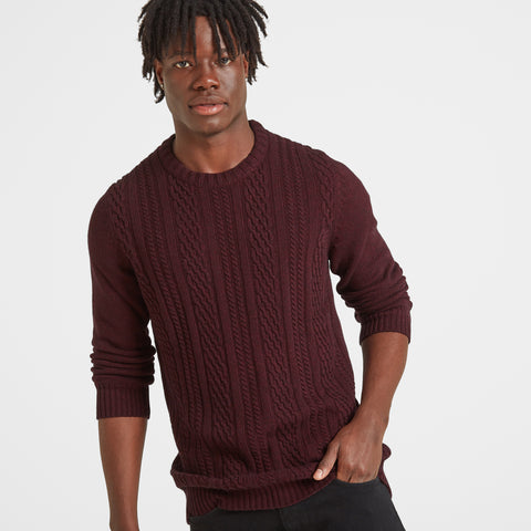 Murray Mens Cable Knit Jumper - Deep Port Marl