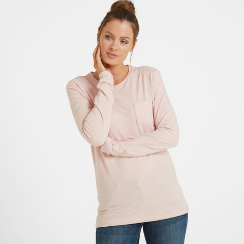 Myrtle Womens Long Sleeve Pocket T-Shirt - Rose Pink