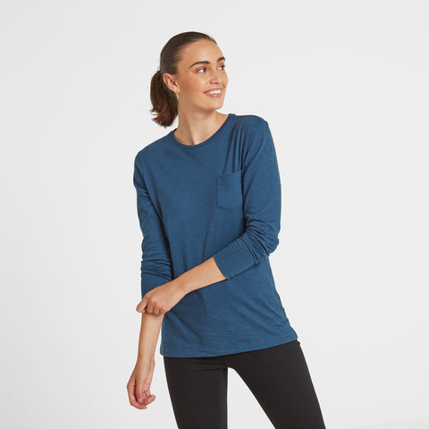 Myrtle Womens Long Sleeve Pocket T-Shirt - Atlantic Blue