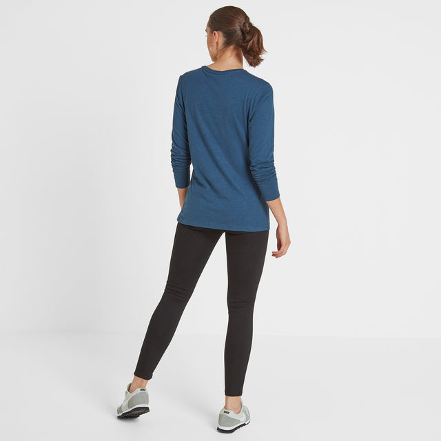 Myrtle Womens Long Sleeve Pocket T-Shirt - Atlantic Blue image 2