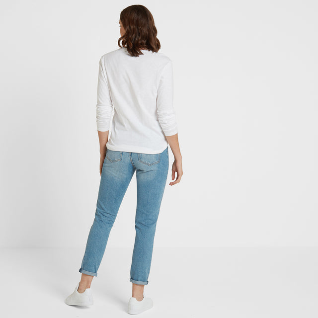 Myrtle Womens Long Sleeve Pocket T-Shirt - White image 3